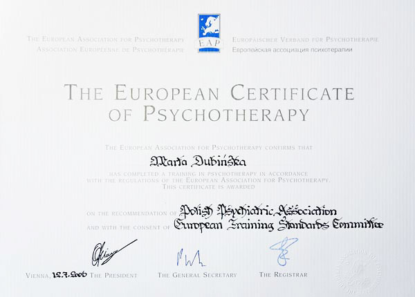 Certyfikat Psychoterapeuty European Association for Psychotherapy